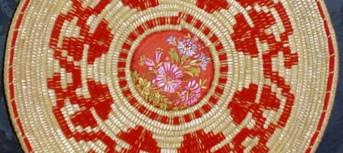In Sinnai a fair of the baskets decorated with red fabric